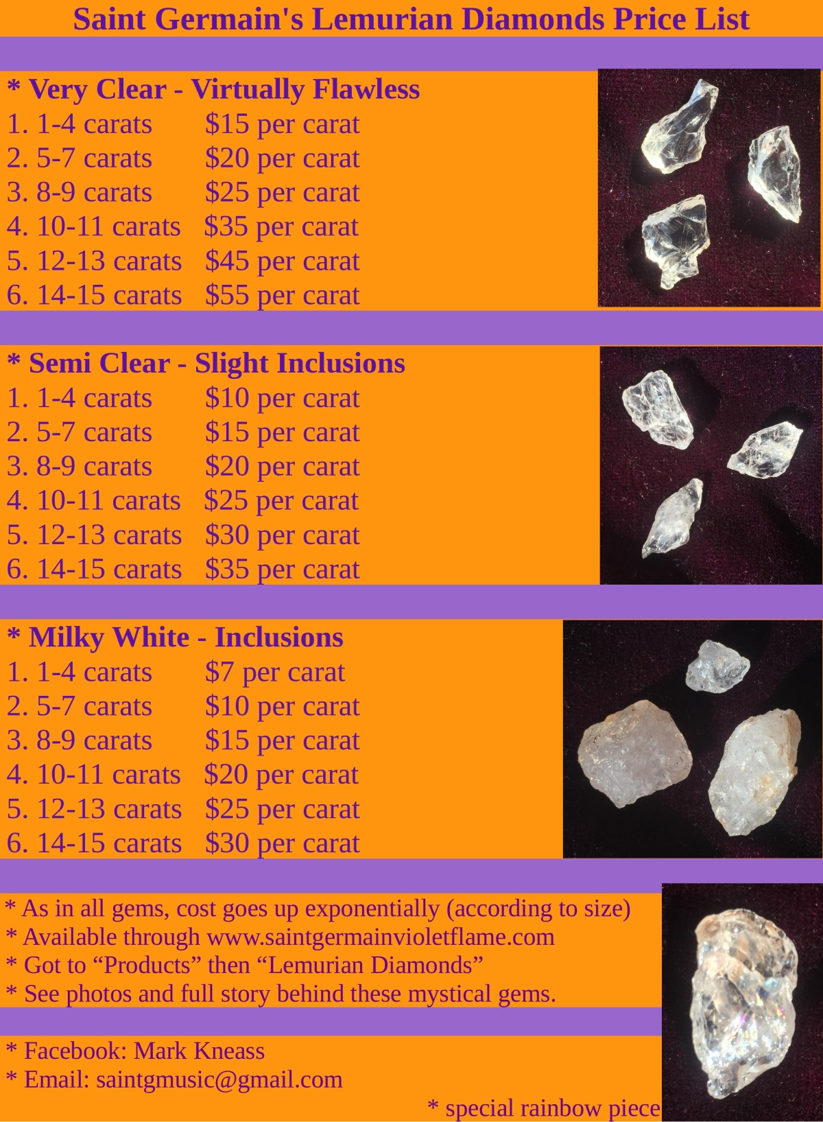 Lemurian diamonds price list